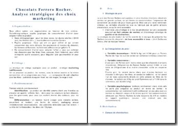 Analyse stratégique des choix marketing: le cas des chocolats Ferrero Rocher