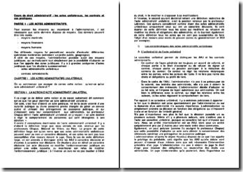 Cours de droit administratif : les actes unilatéraux, les contrats et cas pratiques