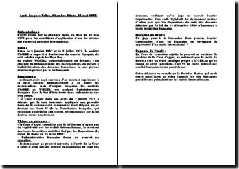 Cour de cassation, Chambre mixte, 24 mai 1975: les conditions d'application d'une loi interne par rapport à un traité international