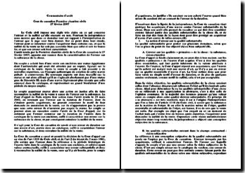 Cour de cassation, Première Chambre civile, 27 février 2007: l'erreur sur la substance de la chose