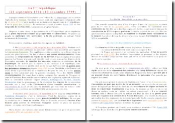 La Ière République : du 21 septembre 1792 au 10 novembre 1799