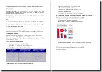 Les investissements directs à l'étranger : rapports de force internationaux