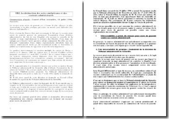Conseil d'État Assemblée, 10 juillet 1996, Cayzeele : La distinction des actes unilatéraux et des contrats administratifs