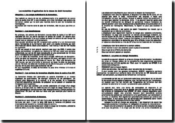 Les modalités d'application de la clause de dédit formation