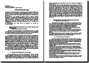 Le gouvernement des juges - contrôle constitutionnel des lois