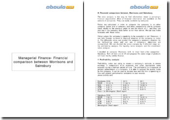 Managerial Finance- Financial comparison between Morrisons and Sainsbury