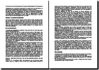 La constitution et la reconnaissance de la personnalité juridique d'une association