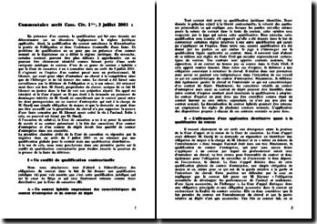 Commentaire arrêt, Cour de Cassation, Civ. 1ère, 3 juillet 2001 : la qualification du contrat entraîne la détermination de la portée de l'obligation