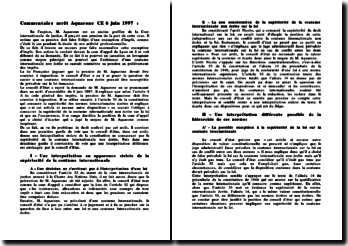 Commentaire de l'arrêt Aquarone, CE 6 juin 1997 : pension et exemption d'impôt