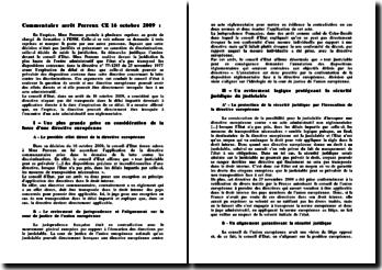 Commentaire arrêt Perreux, cour européenne, 16 octobre 2009 : primauté au droit européen