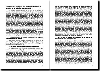 Conseil constitutionnel, décision du 10 décembre 2010: individualisation de la peine et principe de nécessité