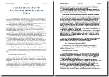 Commentaire d'arrêt, affaire Kokkinakis contre Grèce: l'infraction pénale de prosélytisme