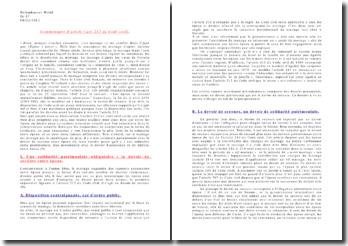 Commentaire d'article 212 du Code civil: les époux se doivent mutuellement fidélité, secours et assistance
