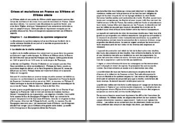 Les crises et mutations en France au XIVème et XVème siècle