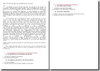 Droit constitutionnel : plan d'un commentaire de l'article 89
