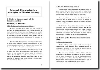 Internal Communication strategies of Nicolas Sarkozy