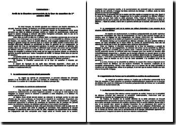 Arrêt de la Chambre commerciale de la Cour de cassation du 1er octobre 2002