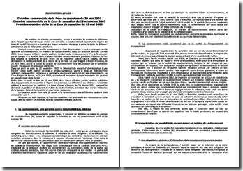 Chambre commerciale de la Cour de cassation du 29 mai 2001, du 13 novembre 2002 et Première chambre civile de la Cour de cassation du 13 mai 2003