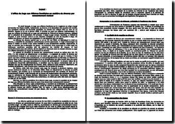 L'office du juge aux affaires familiales en matière de divorce par consentement mutuel