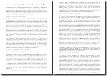 Les contrats de distribution en droit des contrats d'affaires