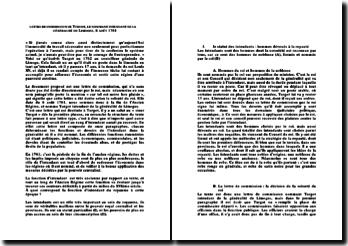 La lettre de commission de Turgot le nommant intendant de la généralité de Limoges, le 8 août 1761