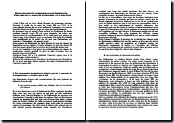 Réponse de Louis XV aux remontrances du Parlement de Paris lors de la séance de flagellation, le 3 mars 1766