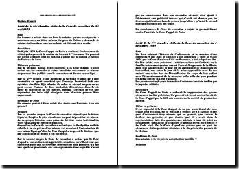 Fiches d'arrêt de la 1ère chambre civile de la Cour de cassation du 18 mai 1972 et du 3 décembre 1980: les droits de la personnalité