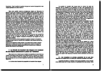 Faut-il modifier le système français de transfert de propriété et des risques applicables à la vente interne ?