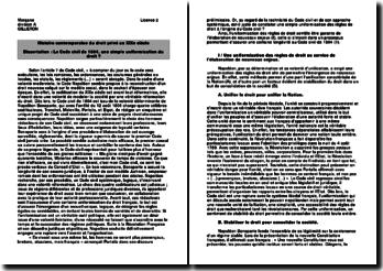 Le Code civil de 1804, une simple uniformisation du droit ?