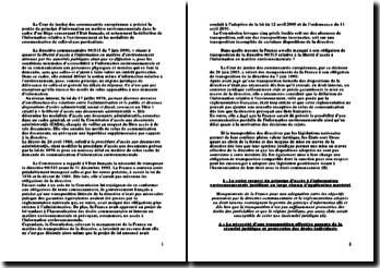 La cour de justice des communautés européennes: décision du 26 juin 2003 et principe d'information des citoyens dans le domaine environnemental