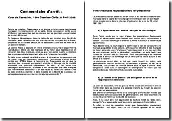 Cour de Cassation, 1ère Chambre Civile, 8 Avril 2008: Areva assigne Greenpeace en référé