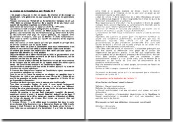 La révision de la Constitution par l'Article 11 ?