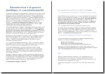 Introduction à la pensée juridique et constitutionnelle