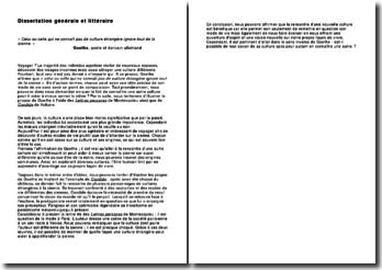 Dissertation sur la citation « Celui ou celle qui ne connaît pas de culture étrangère ignore tout de la sienne » - Goethe