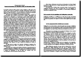 Cour de Cassation, 1ère chambre civile, 21 novembre 2006: la volonté individuelle dans la réalisation d'une obligation naturelle