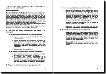 La place des traités internationaux dans la hiérarchie des normes en droit administratif