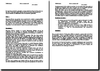Arrêt de la chambre commerciale de la Cour de Cassation 17/12/2002 : révocation d'un gérant non associé