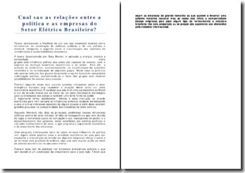 Quais são as relações entre a política e as empresas do Setor Elétrico Brasileiro?