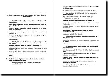 Le droit d'ingérence et la souveraineté des Etats dans le droit onusien