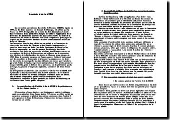 L'article 6 de la Convention Européenne des Droits de l'Homme