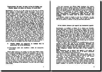 La mise au ban de Luther par Charles Quint à la diète de Worms, 19 avril 1521