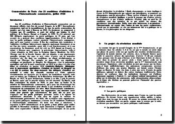 Les 21 conditions d'adhésion à l'Internationale communiste, juillet 1920