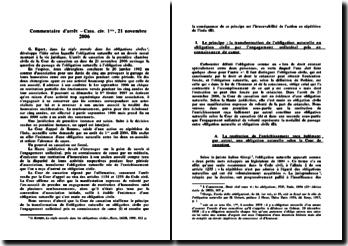 Cour de cassation, 1e Chambre civile, 21 novembre 2006: le passage de l'obligation naturelle à l'obligation civile