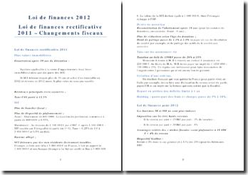 Loi de finances 2012, Loi de finances rectificative 2011: changements fiscaux