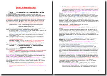 Les contrats, la soumission et les activités administratives