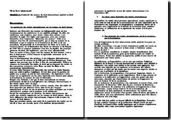 La suprématie des traités internationaux sur les normes de droit interne