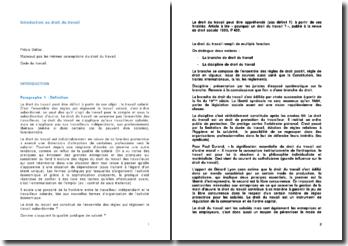 Introduction au droit du travail - qualification du contrat, perte d'emploi et pouvoir normatif de l'employeur