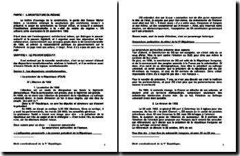 Droit constitutionnel de la Ve République - architecture et métamorphose