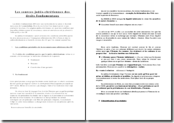 Les sources judéo-chrétiennes des droits fondamentaux