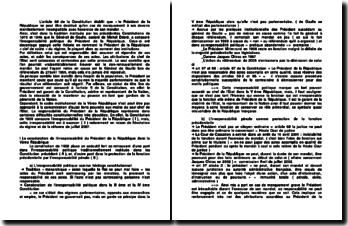 dissertation irresponsabilité du président